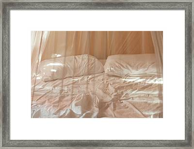 Two Pillows And Empty Bed With Netting Framed Print