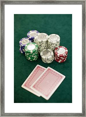 Two Playing Cards And Piles Of Gambling Chips On A Table, Las Vegas, Nevada Framed Print by Christian Thomas