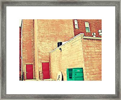 Framed Print featuring the photograph Two Red Doors - Two Little Windows by MJ Olsen