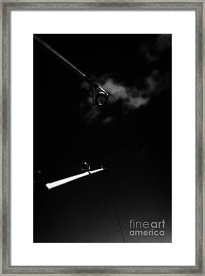 Two Rods And Lines Against Blue Sky Framed Print by Joe Fox