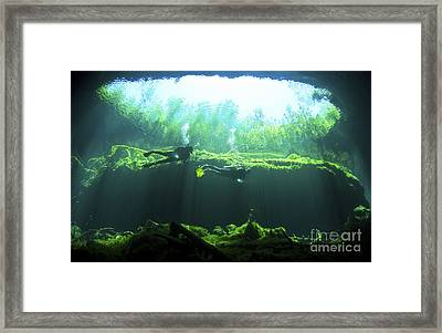 Two Scuba Divers In The Cenote System Framed Print