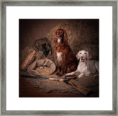 Two Setters With The Gun... Framed Print