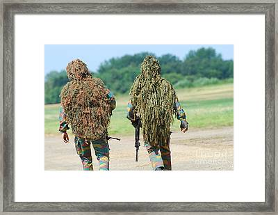 Two Snipers Of The Belgian Army Dressed Framed Print by Luc De Jaeger