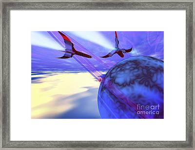 Two Spacecraft Fly Back To Their Home Framed Print by Corey Ford