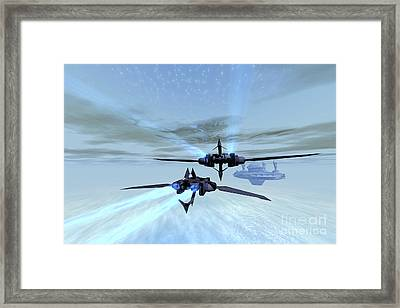 Two Spacecraft Fly Back To Their Space Framed Print by Corey Ford