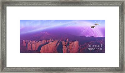 Two Spacecraft Fly Over A Mountain Framed Print by Corey Ford