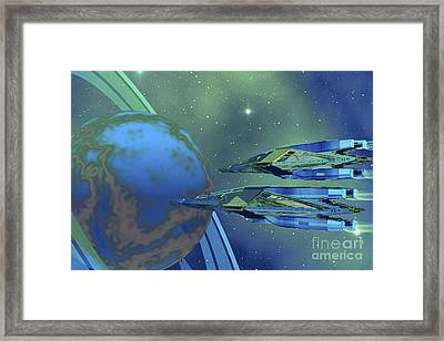 Two Spacecraft Fly To Their Home Planet Framed Print by Corey Ford