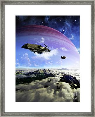 Two Spacecraft Prepare To Depart Framed Print by Brian Christensen