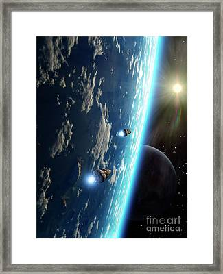 Two Survey Craft Orbit A Terrestrial Framed Print by Brian Christensen
