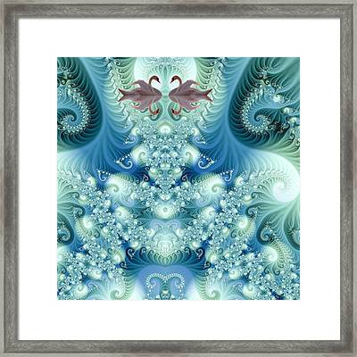Two Swan In The Magic Lake Framed Print