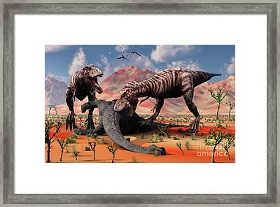 Two T. Rex Dinosaurs Feed Framed Print by Mark Stevenson