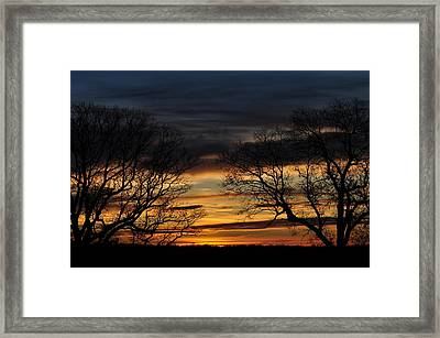 Two Tree Sunrise Framed Print by Peter  McIntosh
