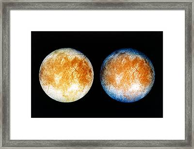 Two Views Of Europa From The Galileo Spacecraft Framed Print by Nasa
