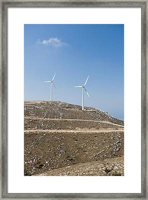 Two Wind Turbines On A Hill, Rhodes, Greece Framed Print