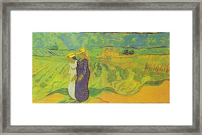 Two Women Crossing The Fields Framed Print by Vincent Van Gogh