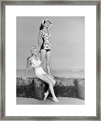 Two Women In Bathing Suits Framed Print by George Marks