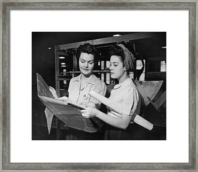 Two Women In Workshop Looking At Blueprints, (b&w) Framed Print by George Marks