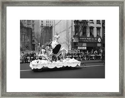 Two Women Waving From Platform During Parade Framed Print by George Marks