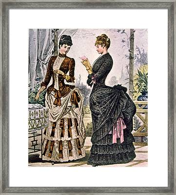 Two Women Wearing Bustle Dresses, Circa Framed Print by Everett