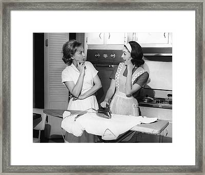 Two Women With Iron Framed Print by George Marks