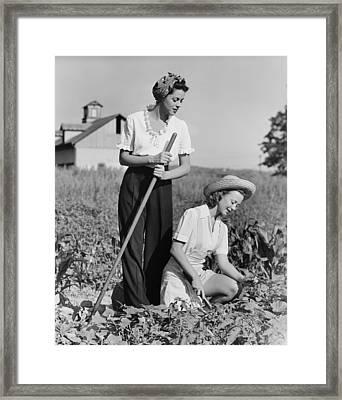 Two Women Working On Field, (b&w) Framed Print by George Marks
