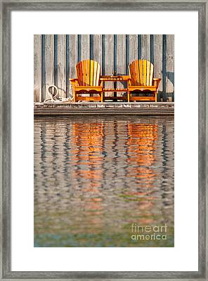 Framed Print featuring the photograph Two Wooden Chairs by Les Palenik