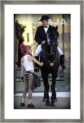 two world - A traditional Menorcan rider with a pink hair girl Framed Print by Pedro Cardona