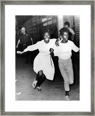 Two Young African Americans Girls, One Framed Print by Everett