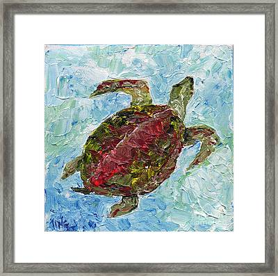 Framed Print featuring the painting Tybee Turtle Swimming by Doris Blessington