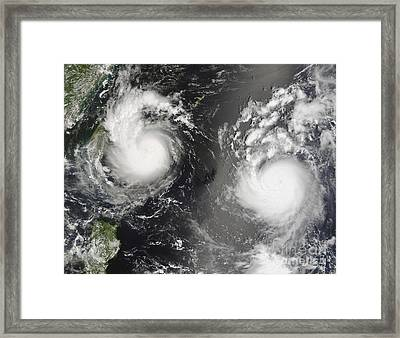 Typhoon Saomai And Tropical Storm Bopha Framed Print by Stocktrek Images