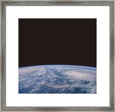 Typhoons Odessa And Pat, Seen Framed Print by NASA / Science Source