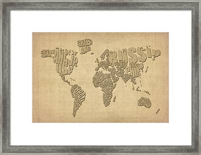 Typographic Text Map Of The World Framed Print by Michael Tompsett