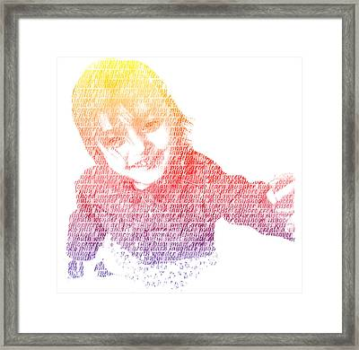 Typography Portrait Childhood Wonder Framed Print