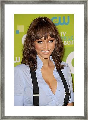 Tyra Banks At Arrivals For Cw Network Framed Print by Everett