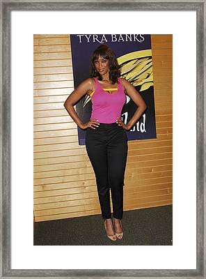 Tyra Banks At In-store Appearance Framed Print by Everett