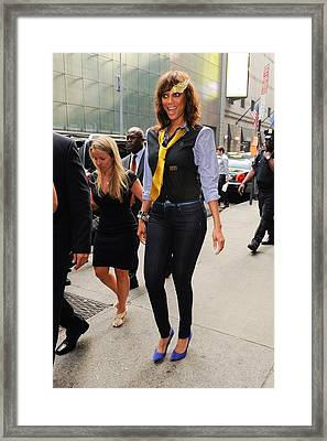 Tyra Banks, Enters The Good Morning Framed Print