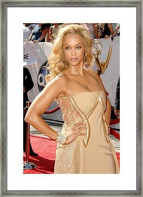 Tyra Banks Wearing A Georges Chakra Framed Print