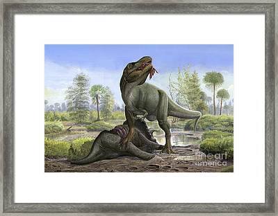 Tyrannosaurus Rex Eats The Carrion Framed Print by Sergey Krasovskiy