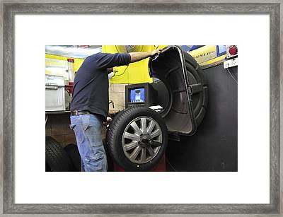 Tyre Workshop And Garage Framed Print by Photostock-israel