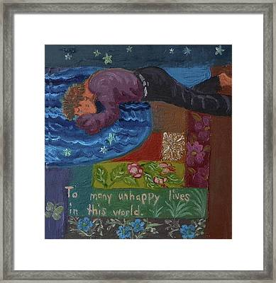 U Is For The Unfortunate Detail From Childhood Quilt Painting Framed Print by Dawn Senior-Trask