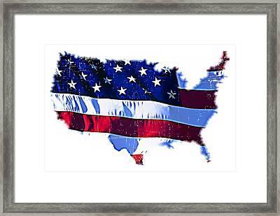 U. S. A. Framed Print by ABA Studio Designs
