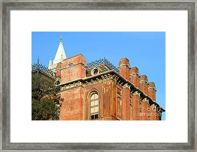Uc Berkeley . South Hall . Oldest Building At Uc Berkeley . Built 1873 . The Campanile In The Backgr Framed Print by Wingsdomain Art and Photography