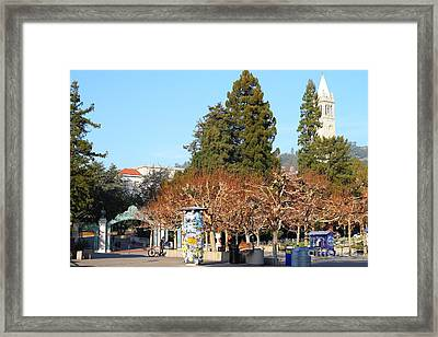 Uc Berkeley . Sproul Plaza . Sather Gate And Campanile Tower . 7d9996 Framed Print by Wingsdomain Art and Photography