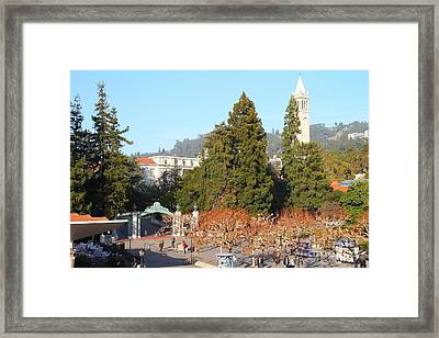 Uc Berkeley . Sproul Plaza . Sather Gate And Sather Tower Campanile . 7d10015 Framed Print by Wingsdomain Art and Photography