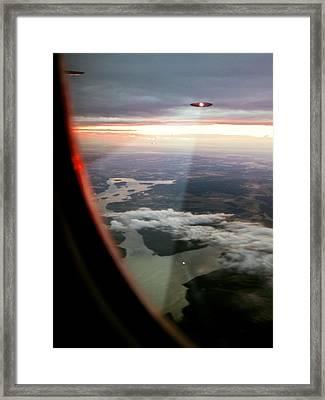 Ufos Scanning An Aircraft Framed Print