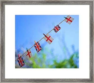 Uk And English Flags On Rope Line Framed Print by Alexandre Fundone