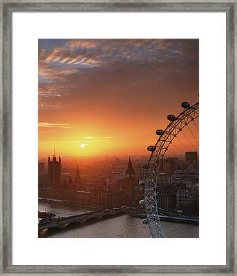 Uk, London, Millennium Wheel And Cityscape, Sunset, Elevated View Framed Print by Travelpix Ltd