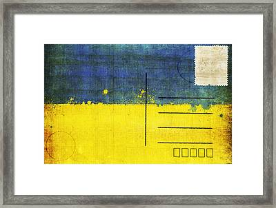 Ukraine Flag Postcard Framed Print