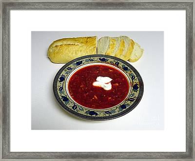 Ukrainian Borsch With Sour Cream Framed Print by Jim Sauchyn
