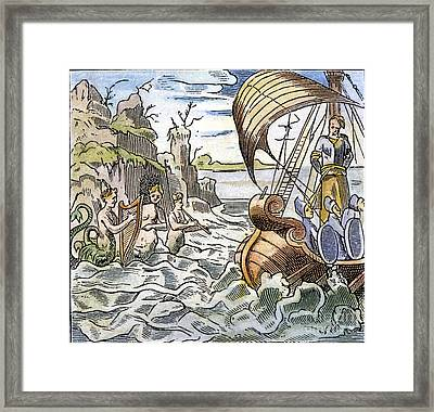 Ulysses, Tied To The Mast Framed Print by Granger
